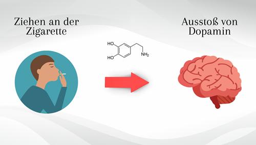 Ausstoß von Dopamin nach dem Rauchen
